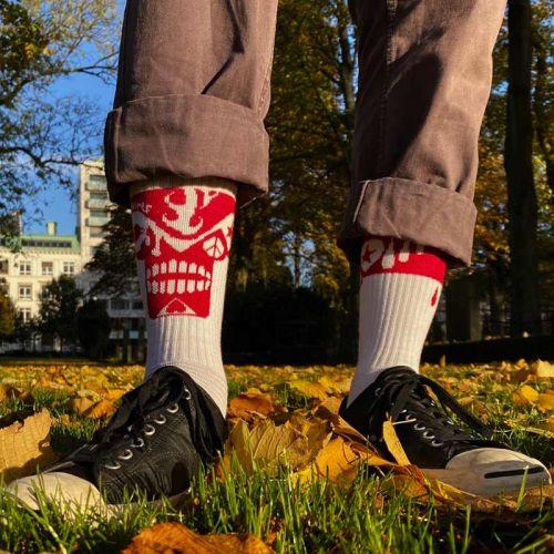 Skullnins Red Skull Sock, Red-White.