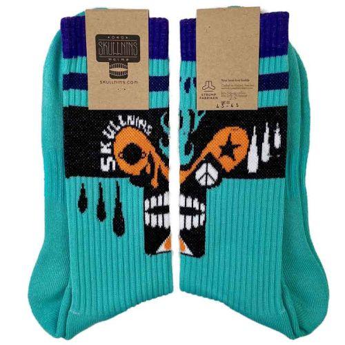 Skullnins Electro Skull Sock, Turquoise.