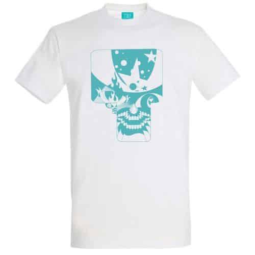 Skullnins Space Skull T-shirt, White.